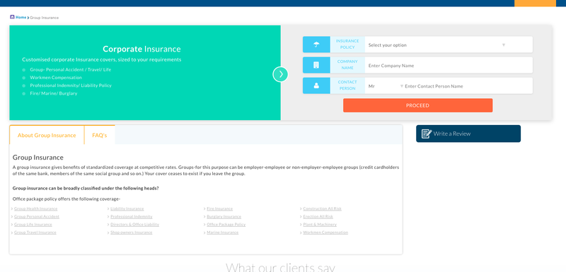 content marketing Landing page for fintech business