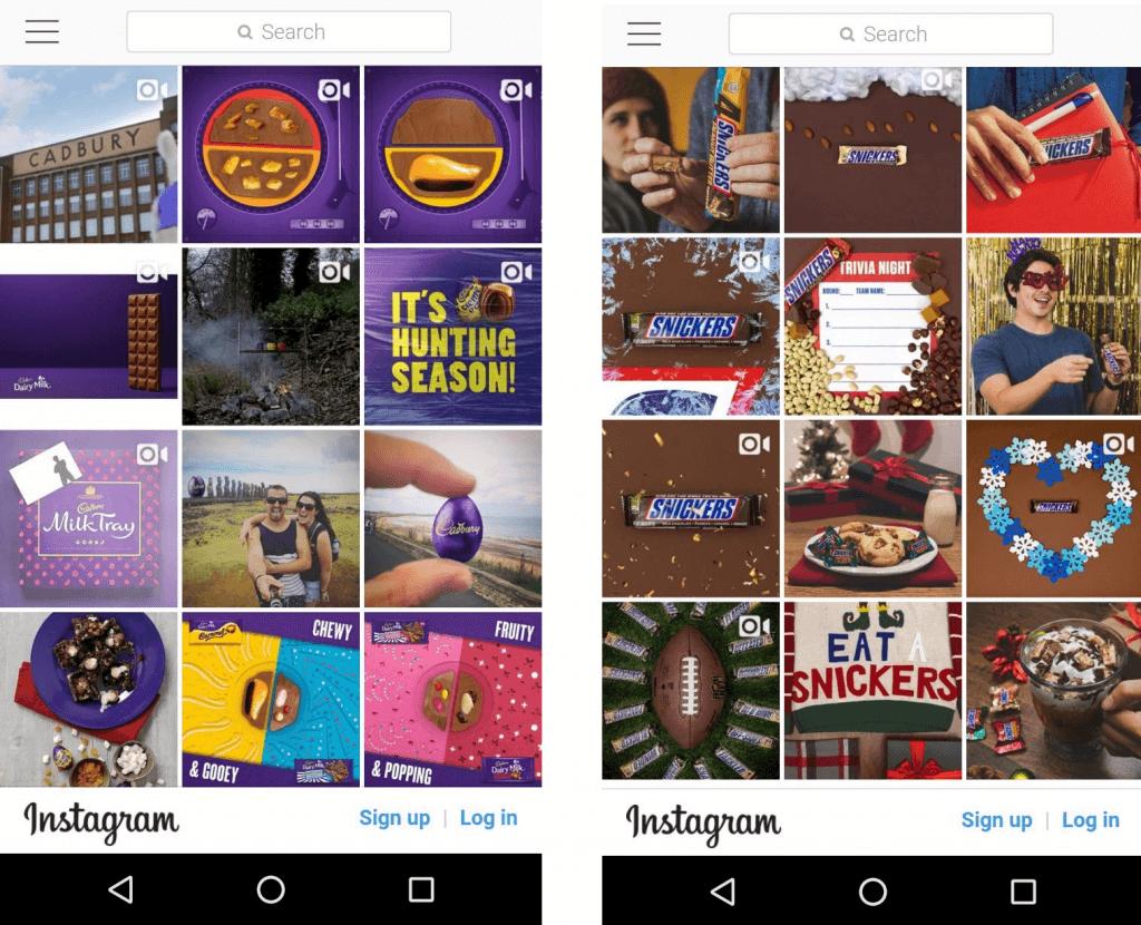 Cadbury_Snicker Instagram Content Marketing examples